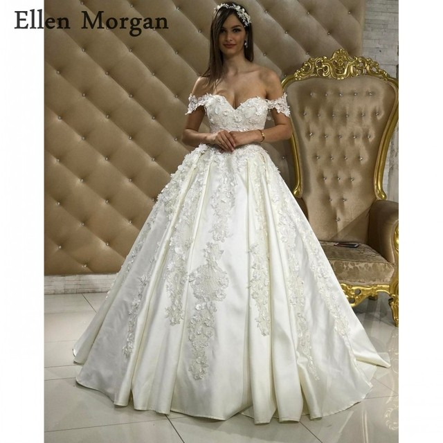 Elegant Lace Ball Gowns Wedding Dresses Real Life Puffy Off Shoulder Court Train High Quality Princess Bridal Gowns 2018