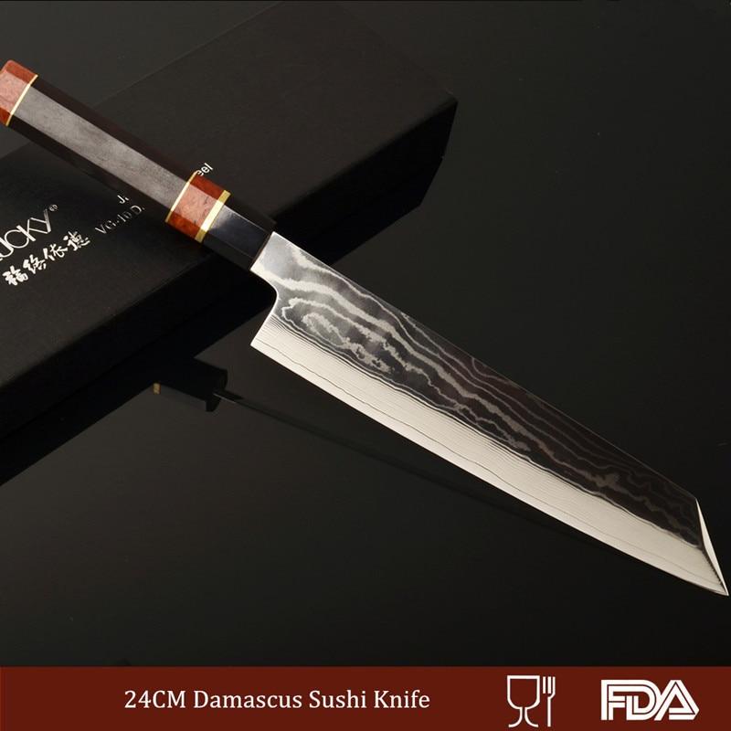 24 см Дамаск Сталь Кухня Ножи Японский Суши Ножи Японская Профессиональная сашими Ножи Прямая продажа с фабрики 2.1.2