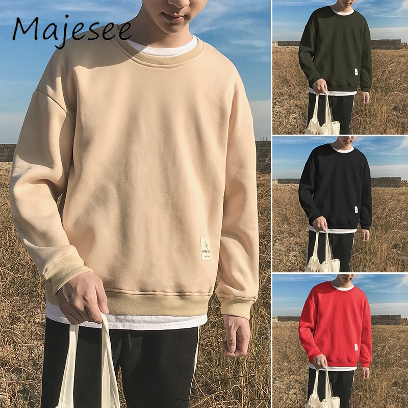 Harajuku Men Loose Hoodies Mens Long Sleeve O-neck Hoodie Male Solid Color Casual Clothing Korean Style Students School Daily