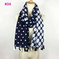 Pretty cotton voile polka dot tassel scarf women shawl head wrap hijab
