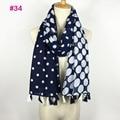 Pretty cotton voile polka dot tassel scarf women shawl head wrap hijab