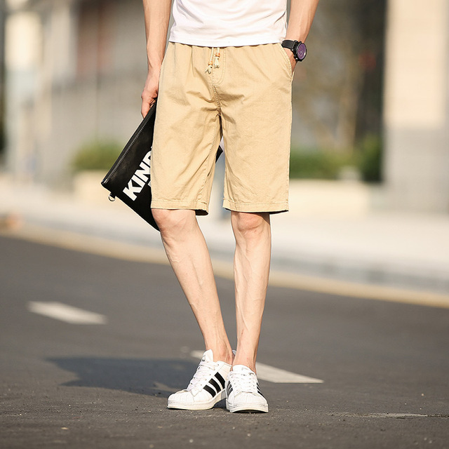2017 New Summer Cotton Pocket Men Casual Shorts Soft Breathable Knee-Length Harem Solid Black Army-Green Red Male Board Shorts
