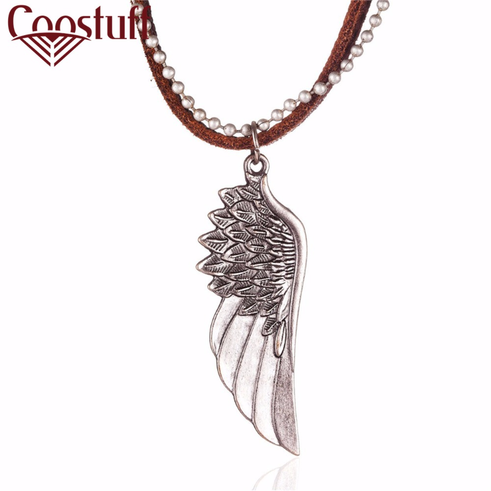 Chain Necklaces Jewelry & Accessories Sunny Angel Wings Genuine Leather Necklace Aliexpress Selling Cowhide Necklace Occident Pop Necklace Manufacturers Straight Batch The Latest Fashion