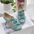 LIN KING New Spring Summer Women Sweet Bow Lolita Low Heel Dress Shoes Princess Pumps Student Party Shoes Round Toe Ladies Pumps