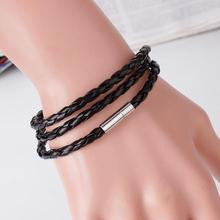 New Fashion Women Men Retro Black Leather 인터레이스 커 프 Bangle 팔찌 Bracelet 패션 Unisex Wings Bracelet(China)