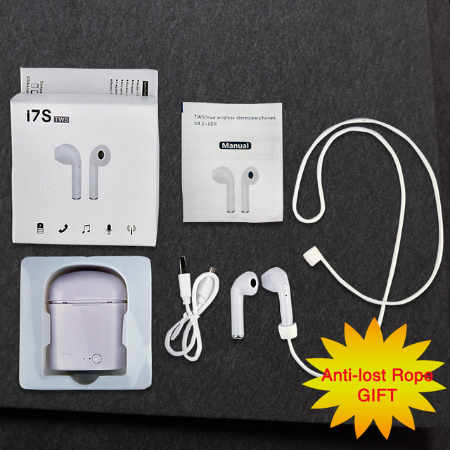 i7s TWS Wireless Bluetooth Earphone A Pair Stereo Earbud Music/Call Headset With Portable Charging Box Send Anti-lost Rope Gift
