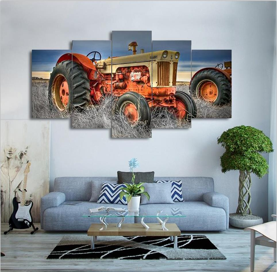 Diamond Painting On Farm Tractor landscape Pictures drill Rhinestones 5pcs full Square diamond embroidery mosaic Needlework art in Diamond Painting Cross Stitch from Home Garden