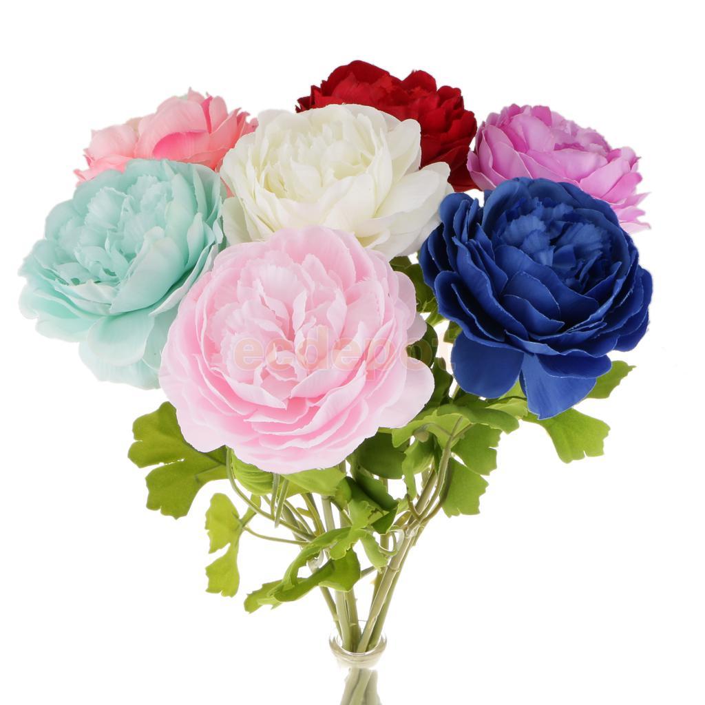 Artificial Lifelike Silk Peony Stem Flower Wedding Party Home Decor 7 Colors