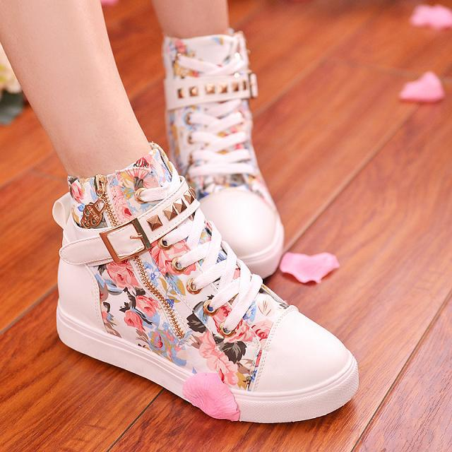 0e4cf2c58968 Drop shipping New 2015 women sneakers for brand wedge female shoes Leisure  Natural Rubber Leopard eu 35 40-in Fitness   Cross-training Shoes from  Sports ...