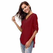 цены на womens tops and blouses chiffon shirts casual plain soft top shirt mujer loose plus size kimono shirt mujer blusa feminina  в интернет-магазинах