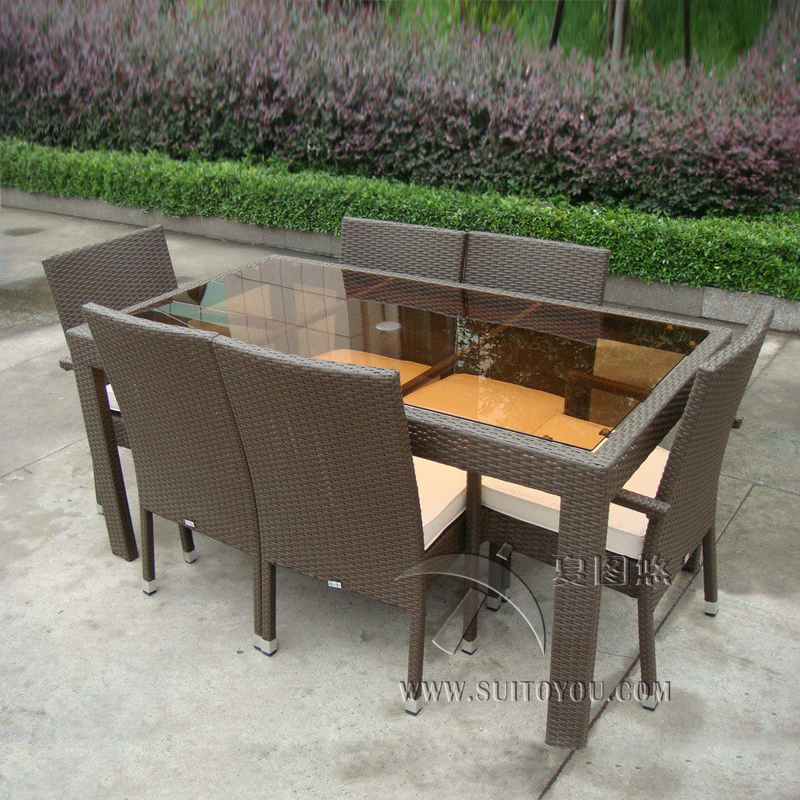 7 pcs Dark Brown Rattan Garden Dining Sets With Table And 8pcs Arms Chair transport by sea