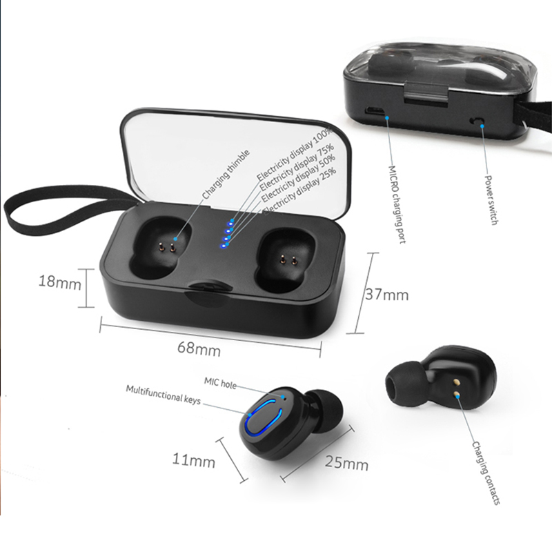 T18S Invisible TWS Mini Wireless Earbuds Stereo Deep Bass Headset with charging box Portable Mini Bluetooth Earphones 5 0 in Bluetooth Earphones Headphones from Consumer Electronics