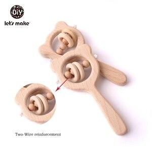 Image 4 - Lets make – Anneau de dentition en bois de hêtre pour bébé, hochet en forme dours, jouet pour enfant en bas âge, accessoire pour poussette, jouet éducatif montessori
