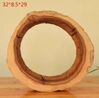 32X8 5X29CM Natural Weathering Circular Hollow Red Camphor Wood Tree Ring Wooden Handicraft Home Decoration Figurines
