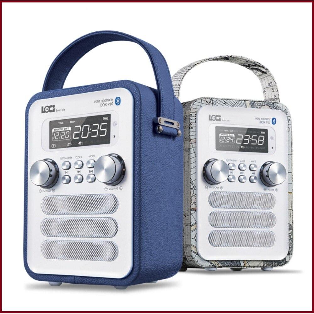 bilder für P10 Multifunktions Leder Retro Bluetooth Lautsprecher Mit FM Radio Unterstützung Wecker Display Zeit