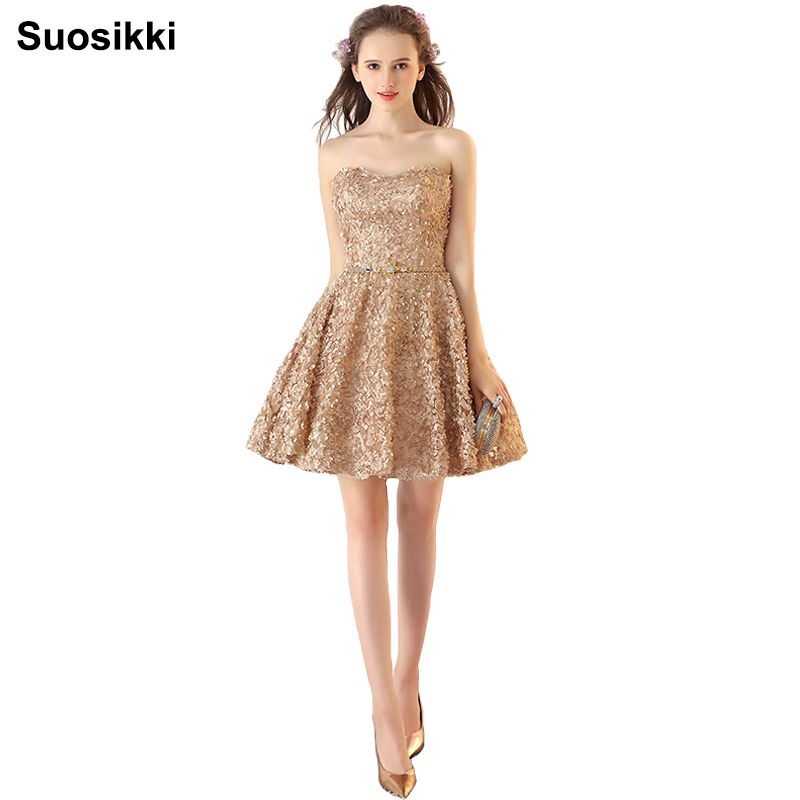Suosikki Women Short Evening Dresses 2017 Cheap Prom Dresses Lace Appliques beading Party Gowns cortos robe de soiree