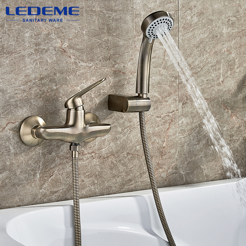 LEDEME Antique Brass Bath Faucets Wall Mounted Bathroom Basin Mixer Tap Crane With Hand Shower Head Bath & Shower Faucet L2048C gappo classic chrome bathroom shower faucet bath faucet mixer tap with hand shower head set wall mounted g3260