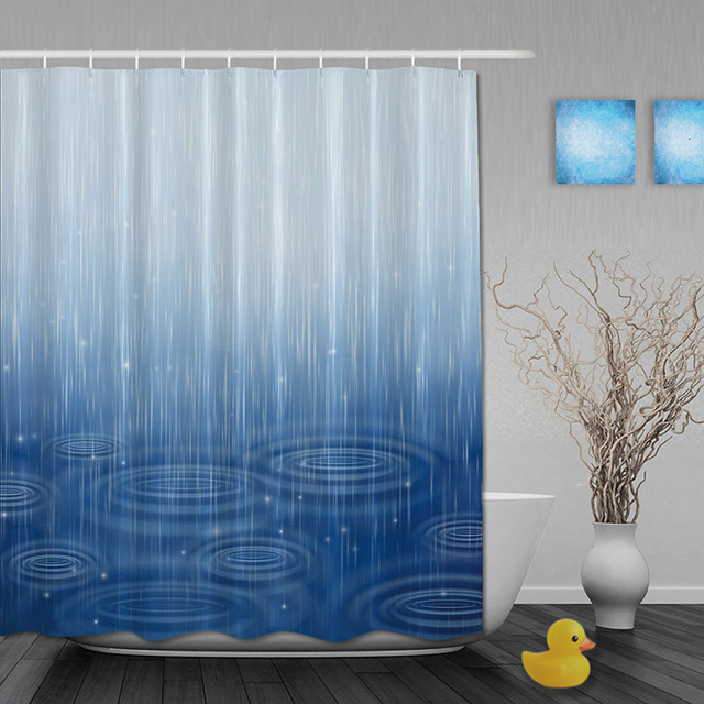 Rainy Scenic Bathroom Shower Curtain Falling Raindroop Decor Shower Curtain Waterproo Polyester Fabric Bathroom Curtain Hooks Bathroom Curtain Hooks Decorative Shower Curtainsfabric Bathroom Curtains Aliexpress