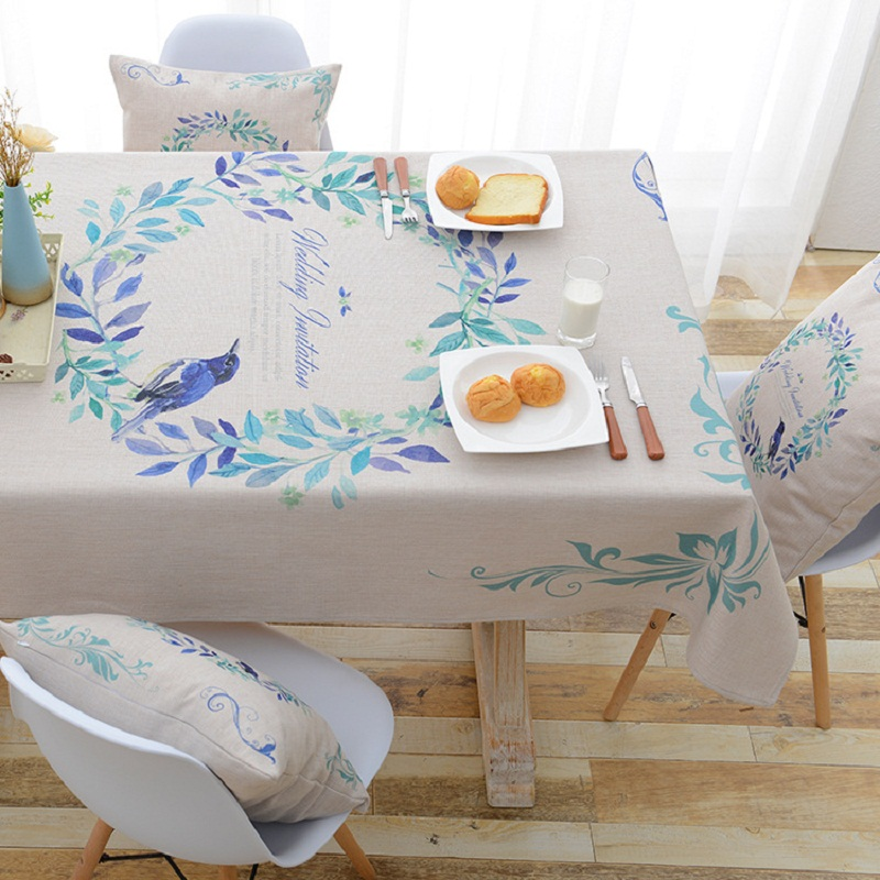 Home Textile Pastoral Bird Printed Outdoor Table Cloth Waterproof Polyester Fabric Tablecloth Party Table Cover