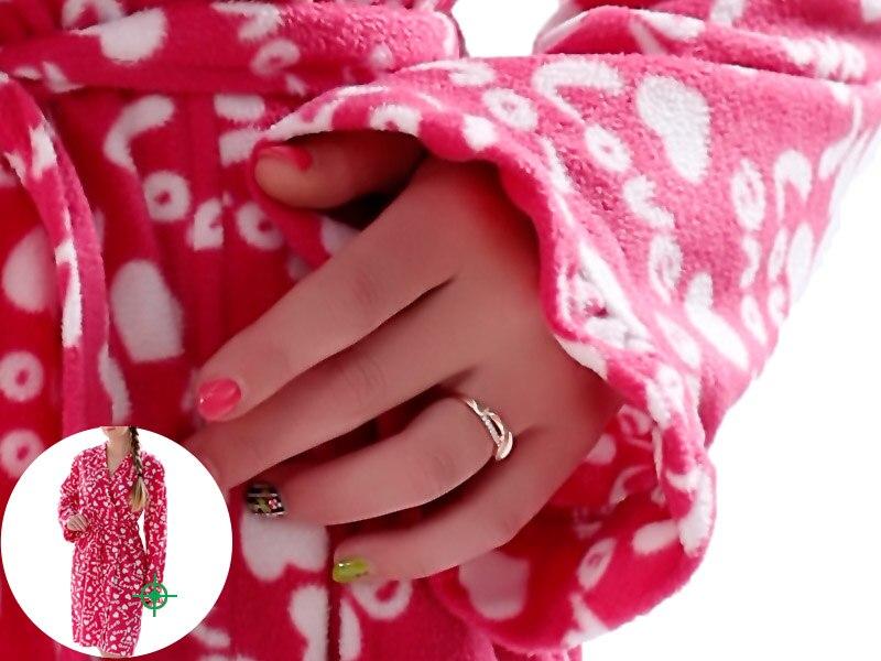 Ladies Plus Size Soft Microfiber Fleece Red Robe Love Lingerie Dressing Gown Kimono Sleepwear Bathrobe For Women 1