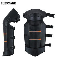 ICESNAKE Leather Warm Knee Pad Leg Warmer Protector Motorcycle Knee Protector Covers Adjustable Strap Windproof Bike