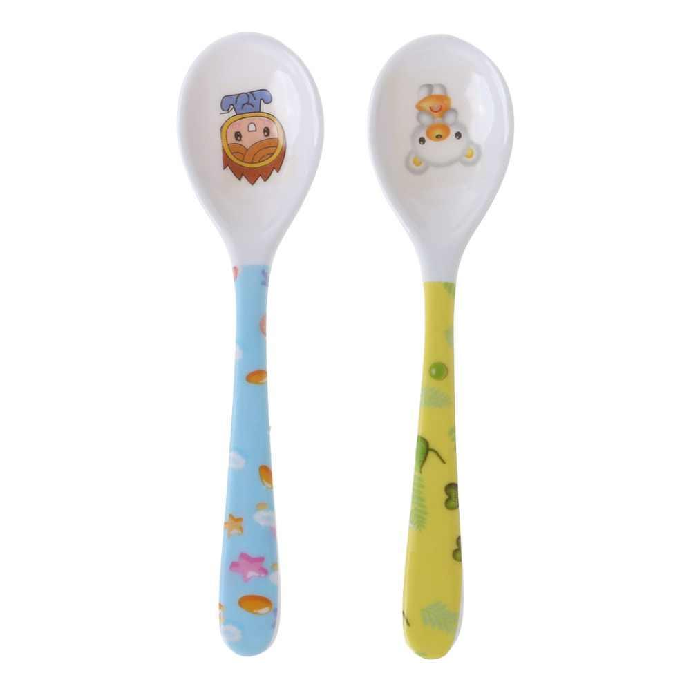 Cuchara de bebé cabeza recta alimentación cubertería platos vajilla Niños Infantes alimentador seguro suministros de aprendizaje