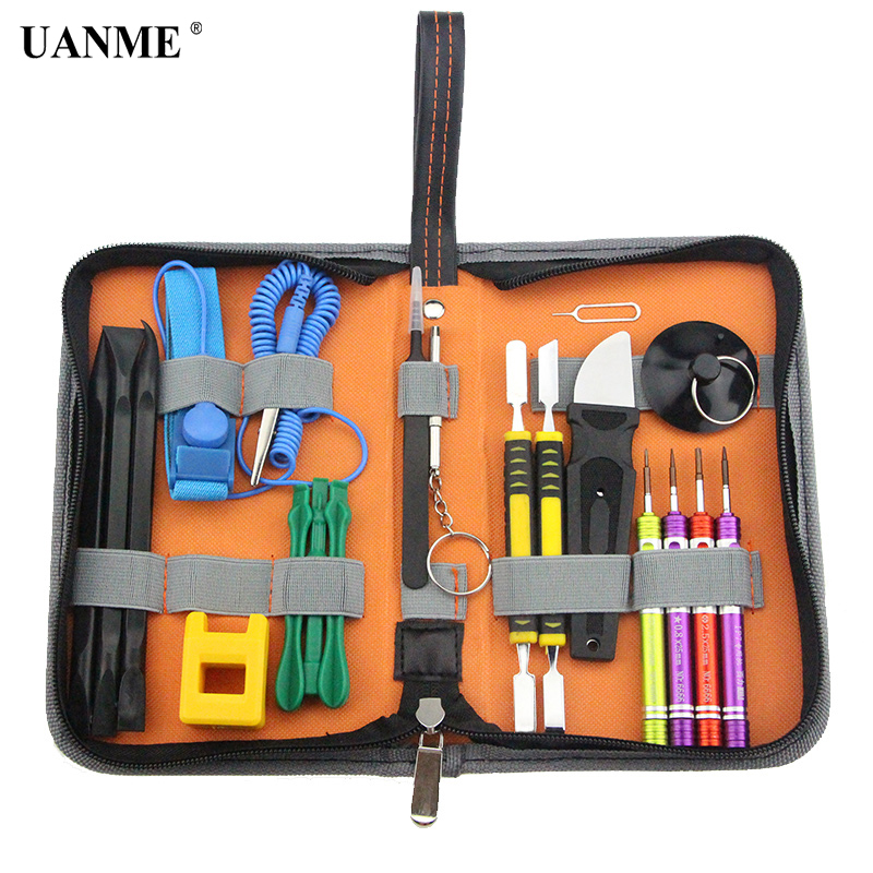 19 in 1 Multi Hand Tools Kit Bag For iPhone 7 6s 6 5s 5c 5 Repair Opening Tool with Spudger Set Screwdrivers Tweezers
