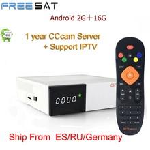 Freesat GTC decoder DVB-S2 DVB-C DVB-T2 Amlogic S905D android 6.0 TV BOX 2GB 16GB +1 Year cccam Satellite Receiver set tv box