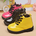 Kids Riding Shoes Round Toe Sweet Patent Leather Martin Boots Boys And Girls Lace Up Zipper Military winter boots for children