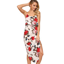 2017 Summer Maxi Dress Women Sexy Split Floral Print Sleeveless Camis Ankle-Length Casual Spaghetti Strap Cami Bodycon Dress