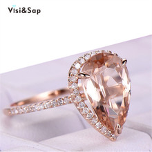 Visisap Boutique 5ct Large Water Drop Shape Rings for Women Trendy Jewel Rose Gold Color Lady Ring B2156