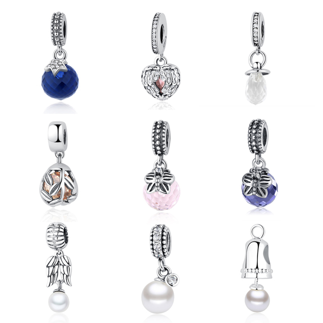 4b6540f8a0858d S925 Sterling Silver Shimmering Pacifier Pearls CZ Feather Bell Glass  Butterfly Hanging Charms Fit Pandora Bracelets Jewelry