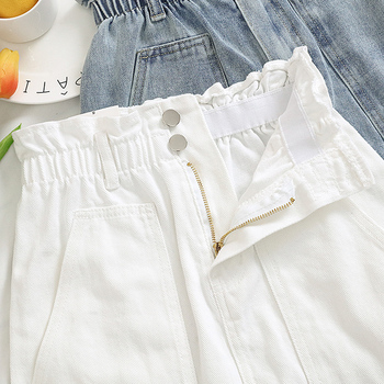Elastic Waist Summer Women Denim Skirt Pockets Sexy White High waist jeans Skirts A-line Casual Ruffles Female mini saia mujer 2