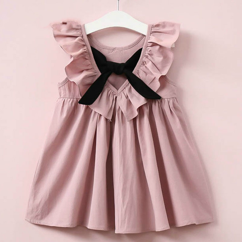 Summer Girls Dress kids clothes New Casual Style Fashion Fly Sleeve Girls Bow Dress Girl Clothing for Children Cute Dresses summer 2017 new korean style fashion fly sleeve girls dress cute children clothing kids lace princess costume girls clothes