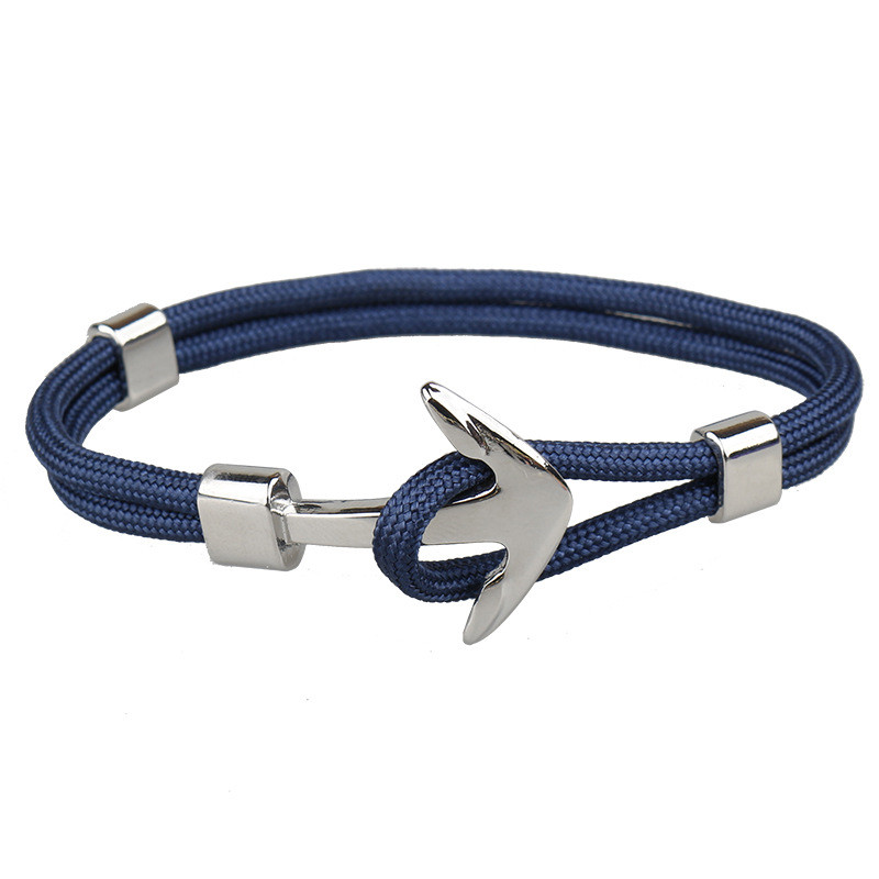 2017 Trendy Punk Silver Color Alloy Anchor With Rope cord Chain Bracelet For Men Women Bangles Jewelry