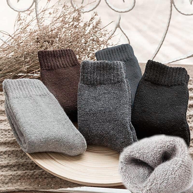 Winter Men Wool   Socks   Super Thick Warm Solid Color Black Grey Woolen Thermal Male Casual Sleep   Socks   skarpetki dropshipping