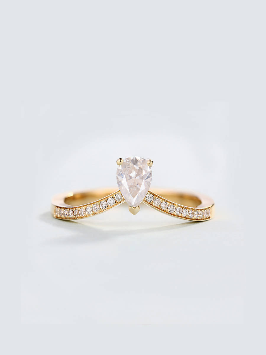 Epinki Gold Plated Ring Womens Wedding Bands Double Flower Drop Cubic Zirconia Double Flower Drop Ring