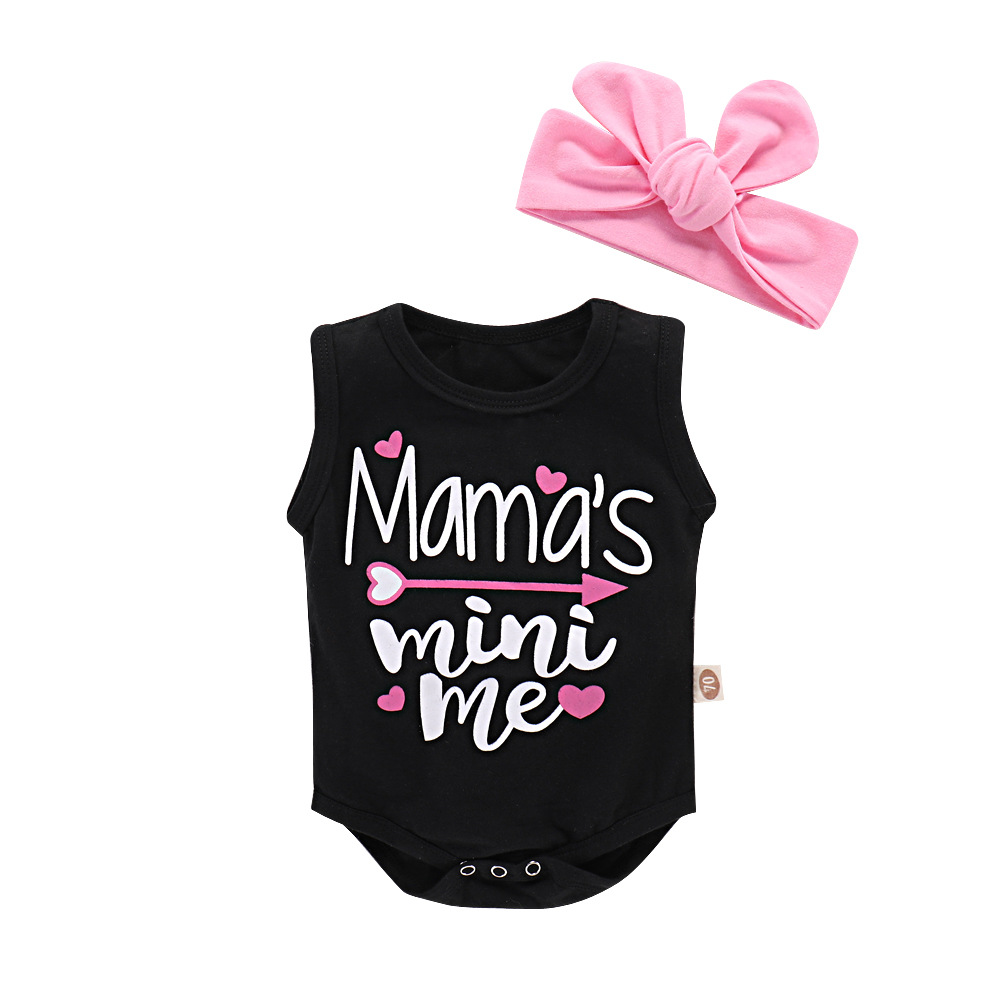 2018 Baby Girl Onesie Sleeveless Black Bodysuit With Headband Mamas Mini Me Letter Print Baby Bodysuit Newborn Clothes Summer