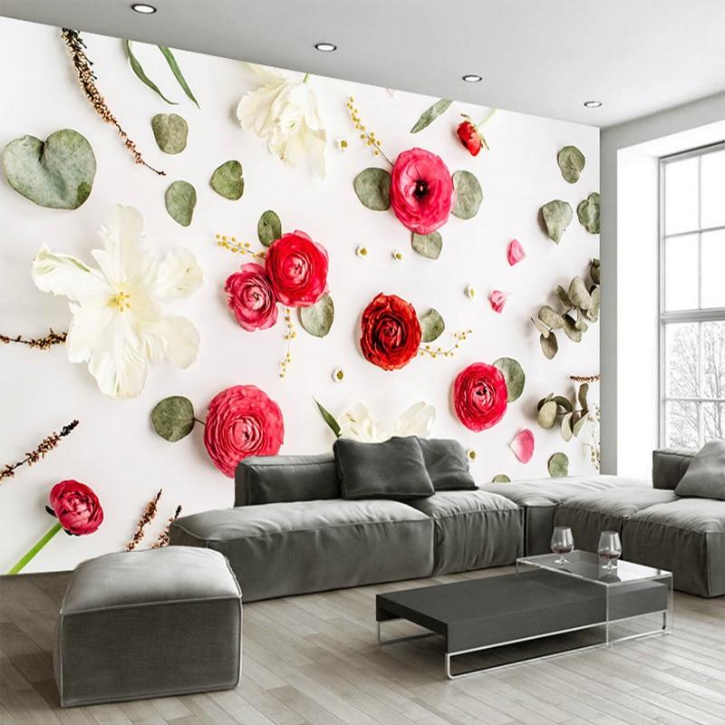 Cool Fotowand Papier D Kreative Kunst Wand Malerei Romantische Rose Blumen  Nacht Wohnzimmer Sofa Hintergrund Decor In With Romantische Couch