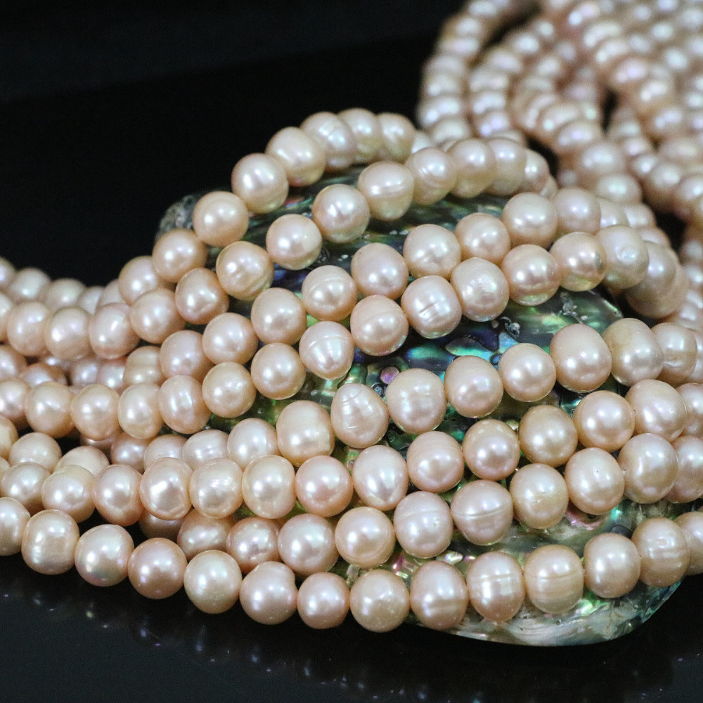 Natural 9-10mm charms orange freshwater round pearl beads weddings party diy high grade jewelry making 15inch B1398