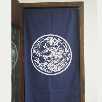 The traditional dragon Chinese cloth door curtain partition cotton canvas new classical Chinese style round mighty Totem