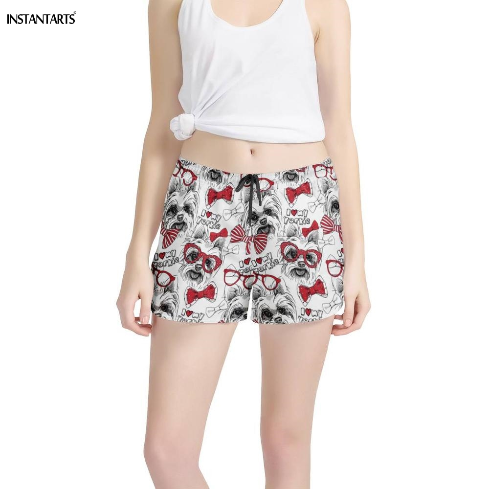 INSTANTARTS Cute Animal Yorkshire Terrier Puppy/Dog Printed Women Yoga Shorts Sport Fitness Short Pants Workout Shorts Ladies
