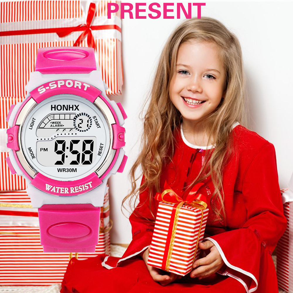 Sport LED Boy Girl Bracelet Watches Rubber Fashion Children Digital Smart Analog Quartz Watch Alarm Date Sports Wrist Watch