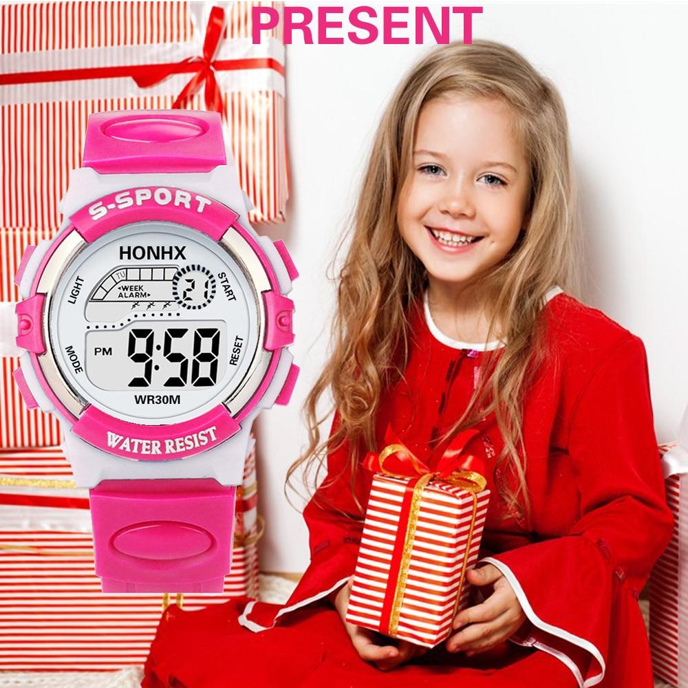 Sport LED Boy Girl Bracelet Watches Rubber Fashion Children Digital Smart Analog Quartz Watch Alarm Date Sports Wrist Watch