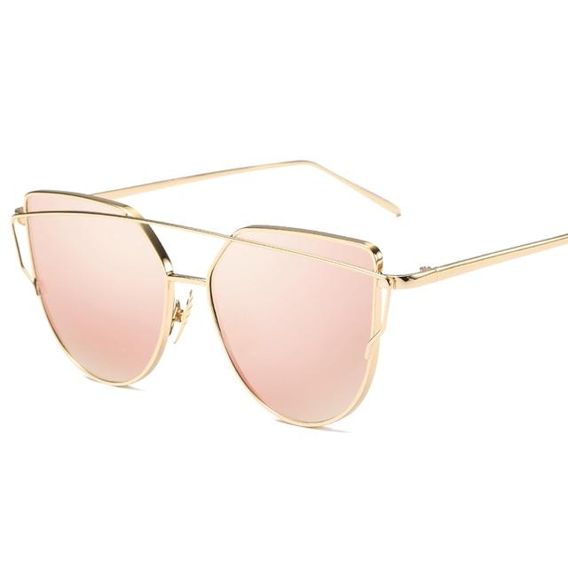Fashion Luxe Vintage Merk Designer Rose goud Spiegel Zonnebril Voor Vrouwen Cat Eye platte lens Vrouwelijke Zonnebril oculos