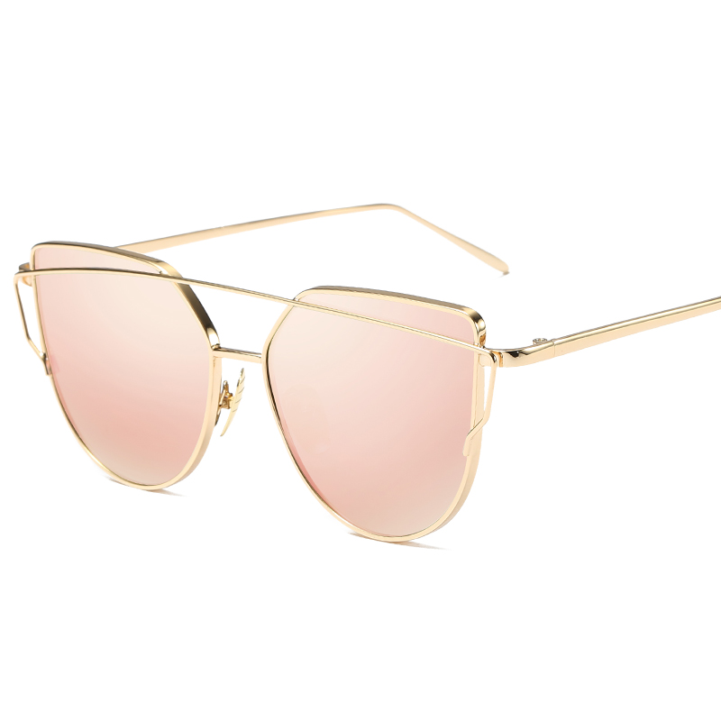 Fashion Luxury Vintage Brand Designer Rose gold Mirror Sunglasses For Women Cat Eye flat lens Female Sun Glasses oculos