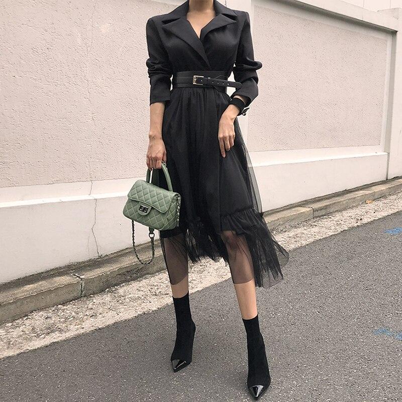 Mode femmes nouveauté décontracté personnalité confortable travail style a-ligne robe tempérament frais noir robe de soirée cadeau une ceinture