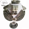 Бренд Laanc Европейский Американский Индийский Люкс Для Серебряные Ювелирные Наборы Хрустальные Бусины Нигерийский Свадьбы Африканские Ожерелье AL190