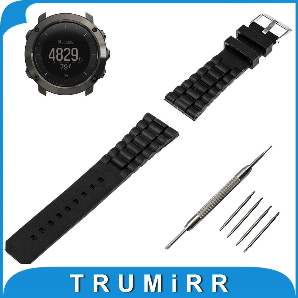 24mm Silicone Rubber Watch Band Stainless Steel Pin Buckle Strap for Suunto TRAVERSE Replacement Wrist Belt Bracelet Black 23mm 24mm silicone rubber watch band for tissot 1853 t035 t087 men stainless steel carved pattern buckle strap wrist bracelet