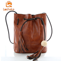 Retro Tassel Bucket Bag Women Messenger Bags Sling Shoulder Bag String Casual PU Leather Fashion Designer Female Handbag Loshaka